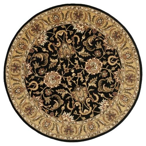 Black/Gold Botanical Tufted Round Area Rug - (8' Round) - Safavieh