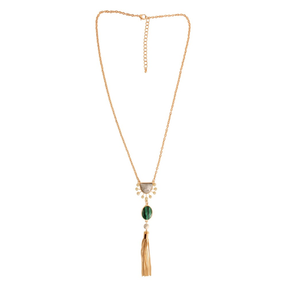 Fashion Pendant Necklace - 26 - Gold/Green, Womens