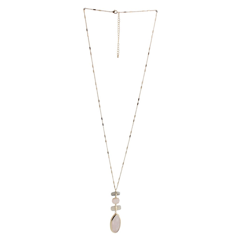 Fashion Pendant Necklace - 33 - Gold/Pink, Womens