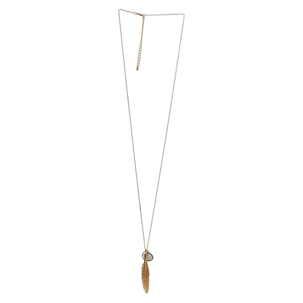 Fashion Pendant Necklace - Gold/White, Womens