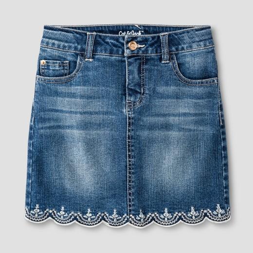 Girls' Scallop Hem Jean Skirt Cat & Jack™ - Medium Denim Wash : Target