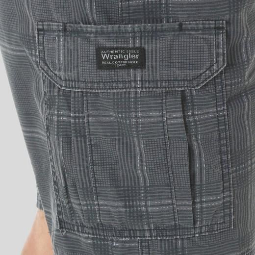 Wrangler® Men's Ripstop Cargo Shorts- Black Plaid : Target