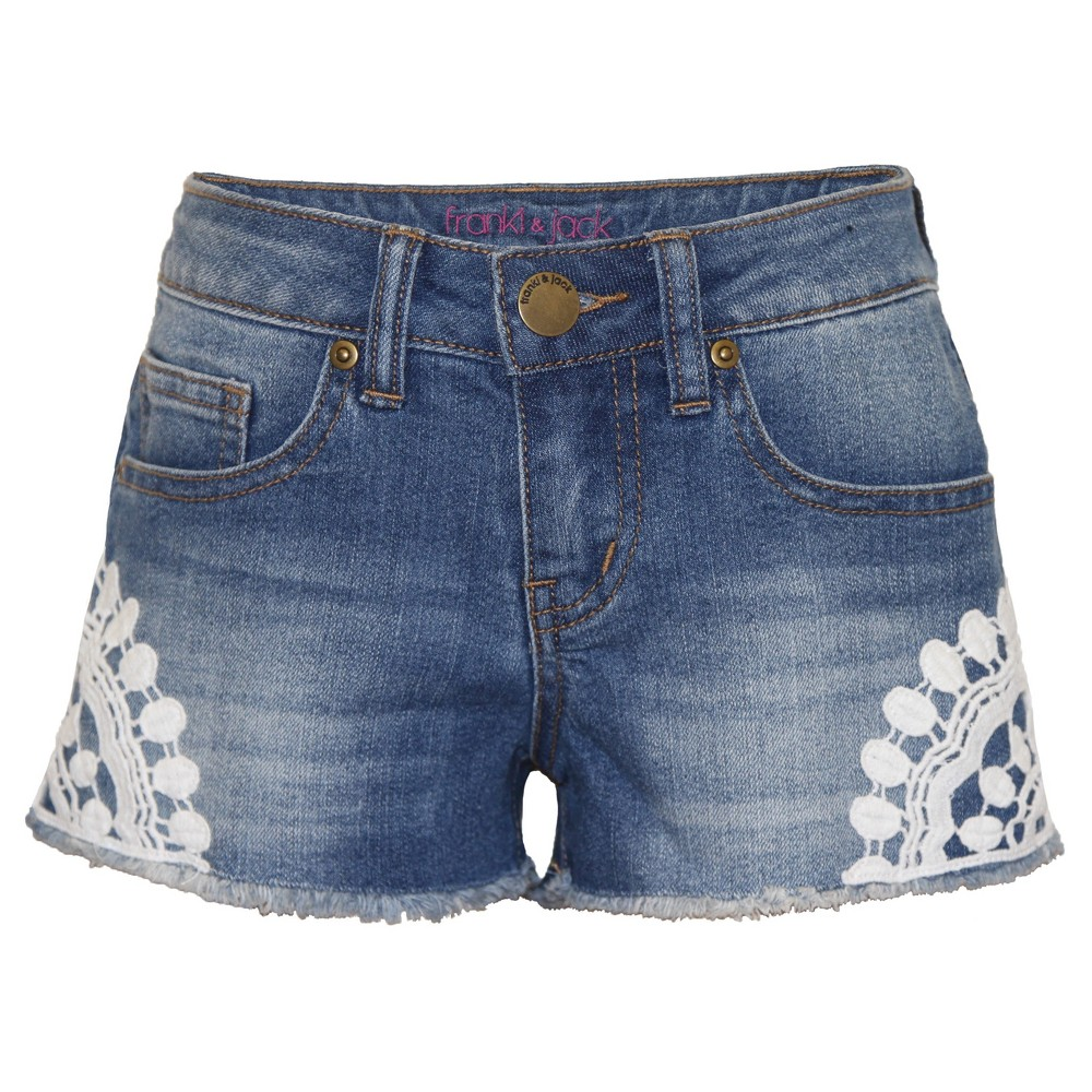 Girls Franki & Jack Jean Shorts - Light Acid Wash XL(14-16), Blue
