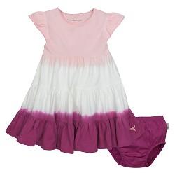 Burt's Bees Baby® Girls' Organic Tri Dip Dye Tiered Dress & Diaper Cover Set - Pink
