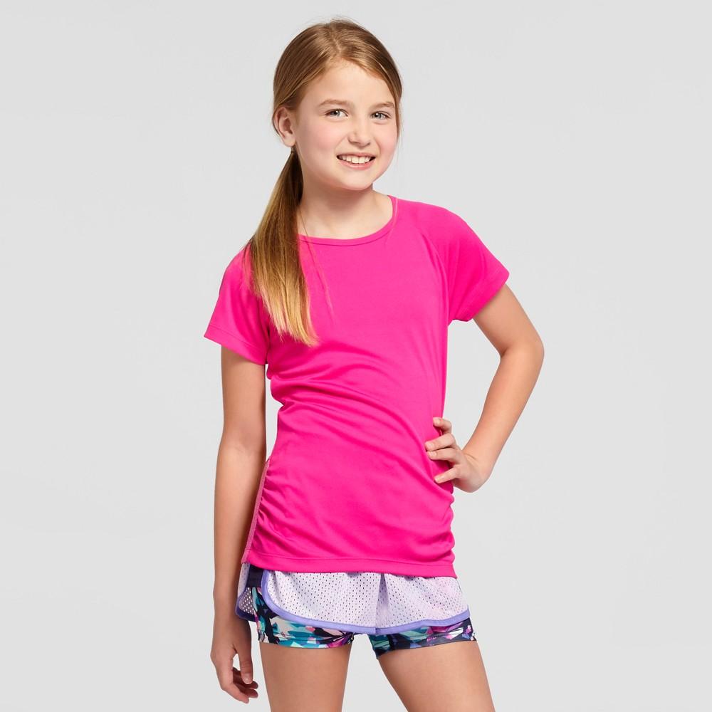 Girls Ruched Tech T-Shirt - C9 Champion Fuchsia (Pink) XL
