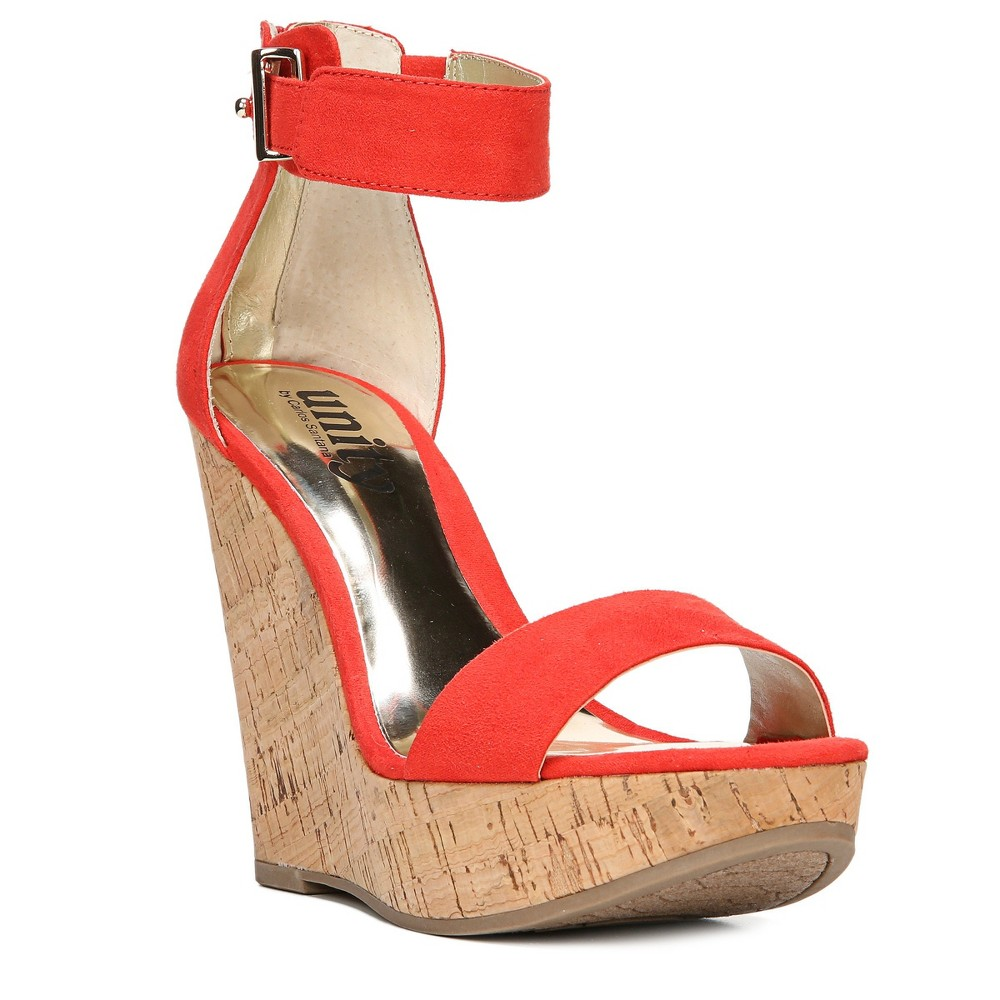 Womens Unity By Carlos Santana Becky Platform Wedge Quarter Strap Sandals - Red 5.5, Paprika Red