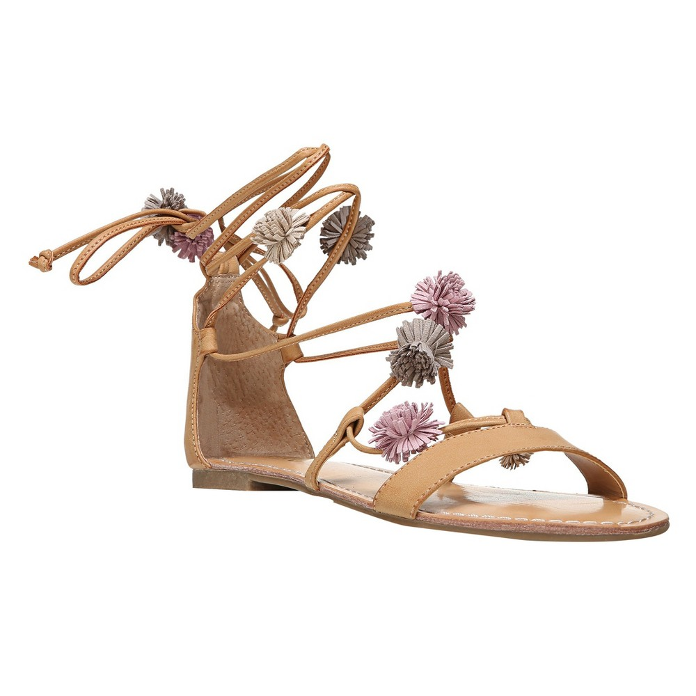 Women's Unity By Carlos Santana Gisele Lace Up Pom Gladiator Sandals - Nude 9.5, Beige Nude