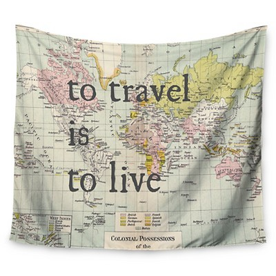 Map Catherine Holcombe To Travel Is To Live Wall Tapestry (51 x60 )- Kess InHouse