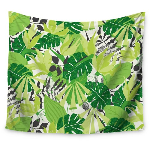 'Lime White Jacqueline Milton Tropicana Green Wall Tapestry (51''x60'') - Kess InHouse'
