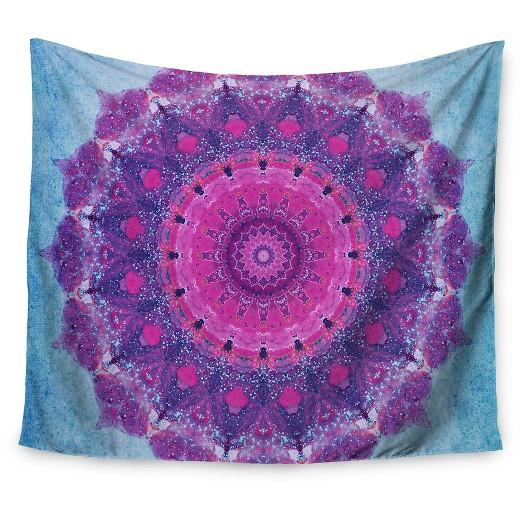 "Pink Wall Tapestry purple blue iris lehnhardt grunge mandala wall tapestry (51""x60"
