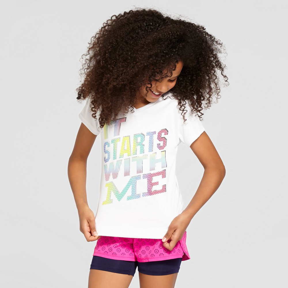 Girls Graphic Tech T-Shirt - C9 Champion - White XL - It Starts With Me