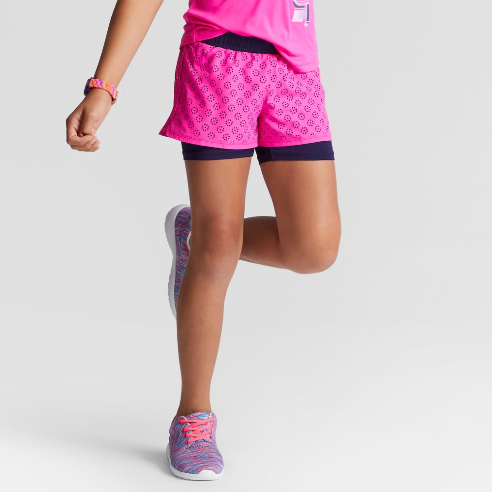 Girls 2 in 1 Perforated Shorts - C9 Champion Fuchsia (Pink) XL