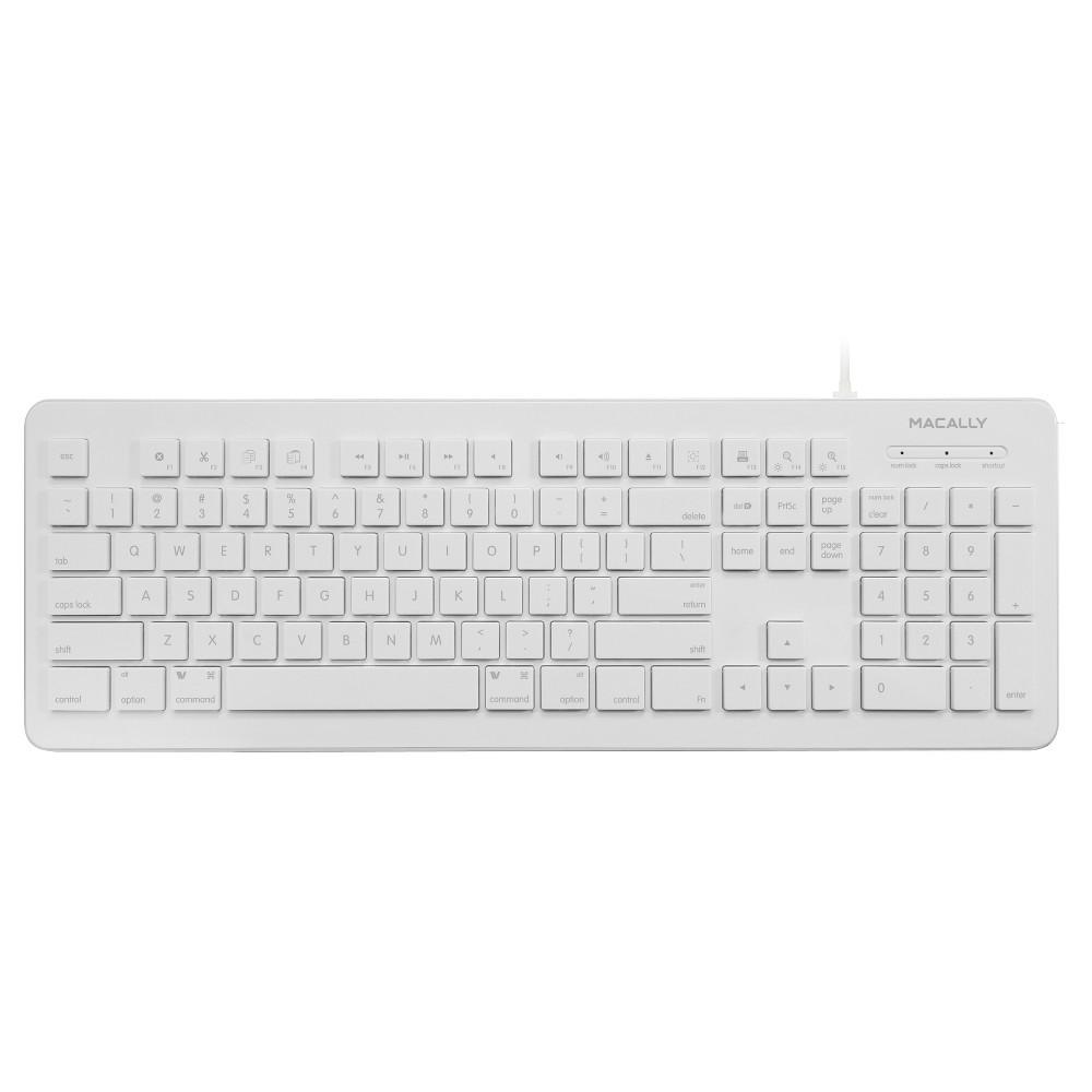 Macally Usb Wired Computer Keyboard for Mac & PC - White (Mkeyx)