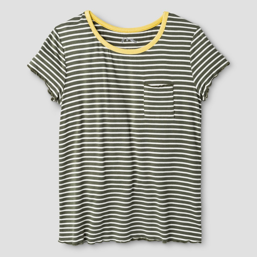 Girls' Pocket T-Shirt Art Class – Olive (Green) XL, Girl's, Size: XL(14-16)