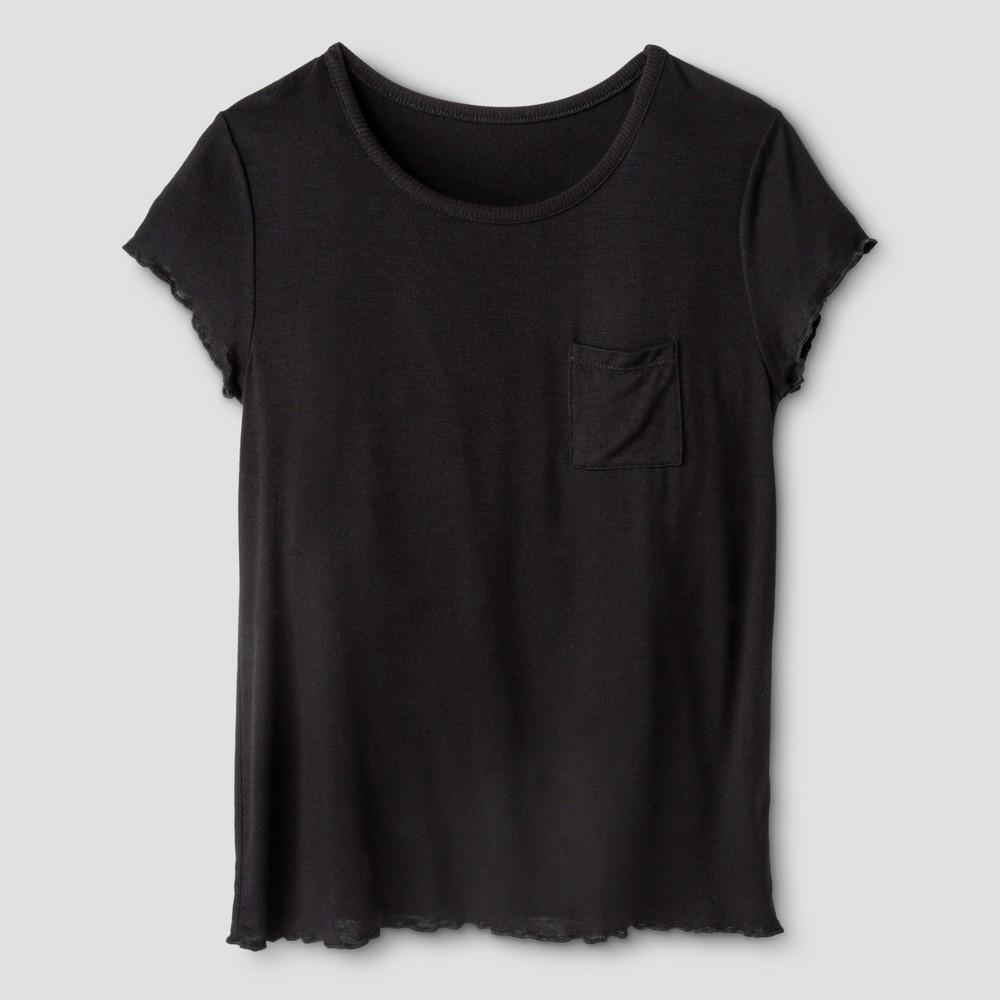 Girls Short Sleeve Pocket T-Shirt - Art Class Black XS, Size: XS (4-5)