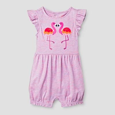 Baby Girls' Flamingo Open Back Romper - Cat & Jack™ Pink 6-9 Months