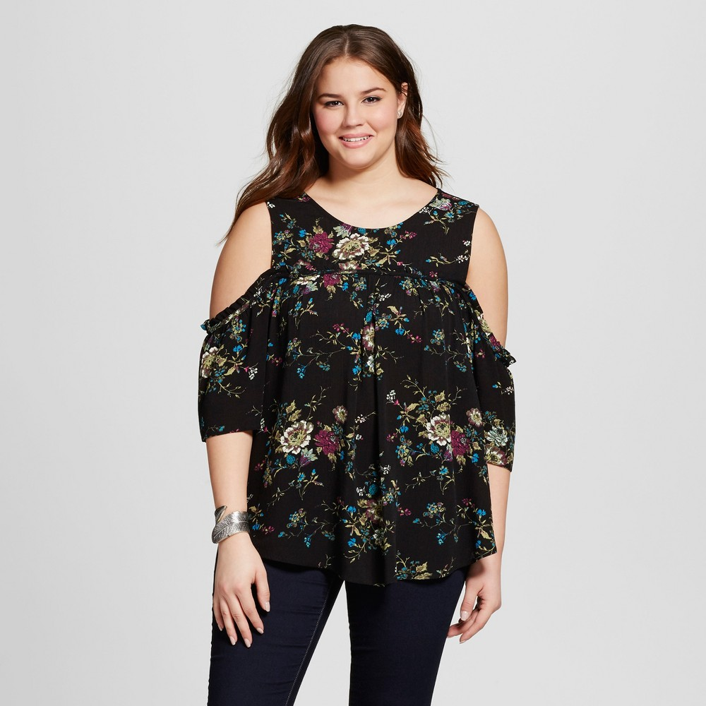 Women's Plus Size Printed Cold Shoulder Blouse Black 2X – Born Famous