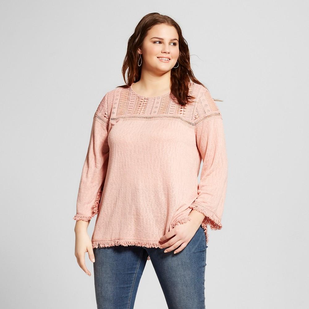 Women's Plus Size Crochet Fringe Top Pink 3X – Born Famous (Juniors')