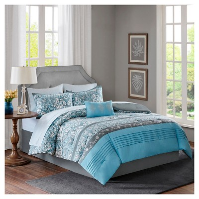 Blue Emme with Embroidery 100% Polyester Printed Complete Bed Set (King)9pcs