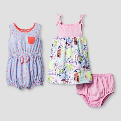 Baby Girls' Yoke Dress and Pocket Romper Set - Cat & Jack™ Blue 6-9 Months