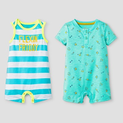 Baby Boys' Henley and Tank Romper Set - Cat & Jack™ Green 3-6 Months