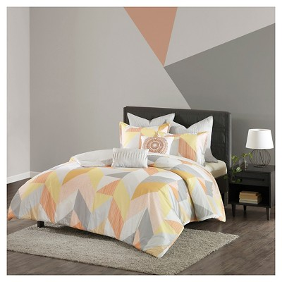 Orange Tivoli 100% Cotton Printed Comforter Set (Full/Queen)7pcs