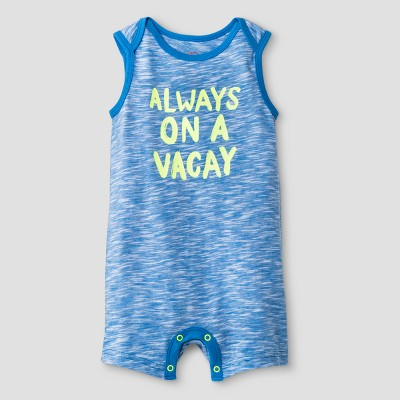 Baby Boys' Always On Vacay Tank Romper - Cat & Jack™ Blue NB