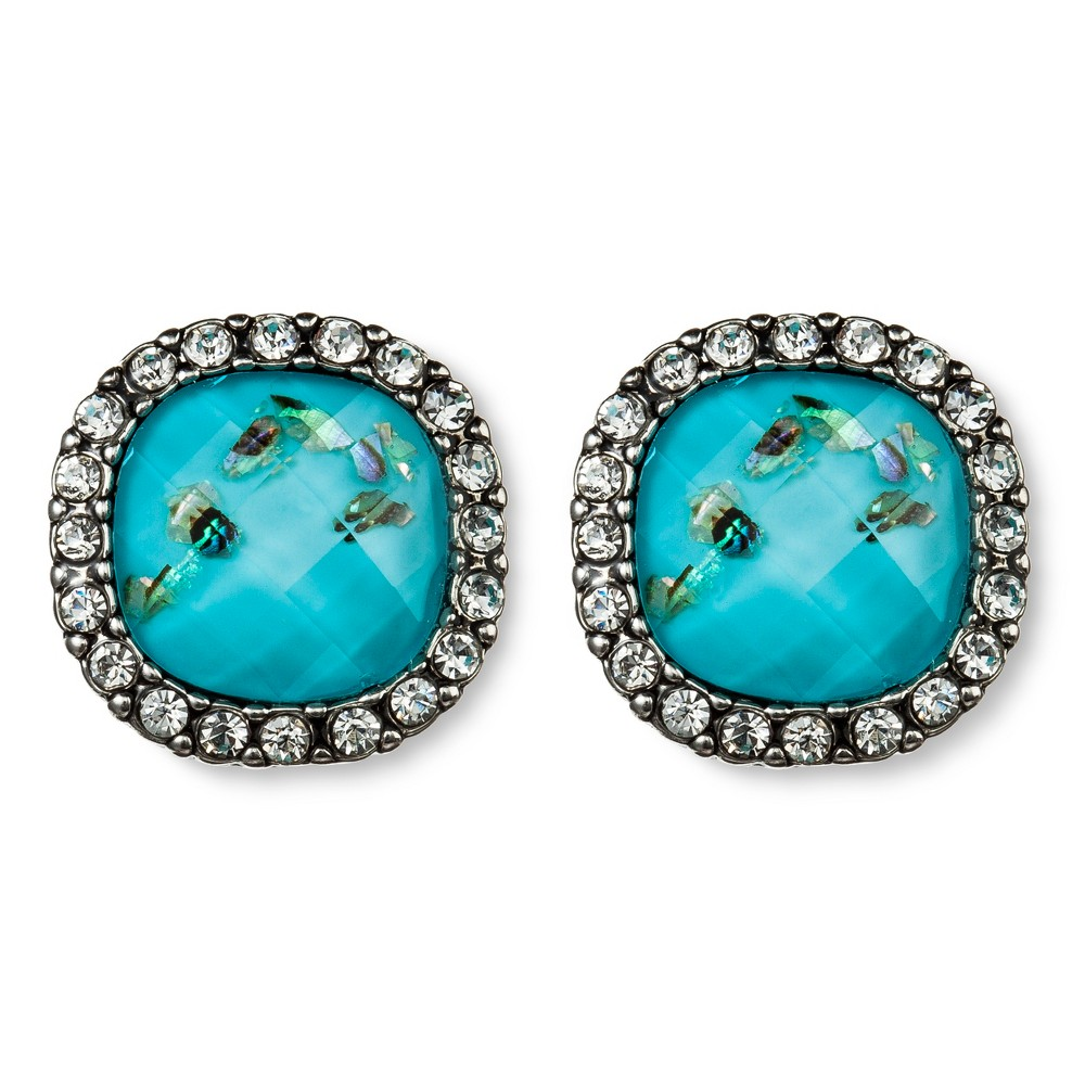 Matrix Crystal Framed Button Earrings - Turquoise, Womens
