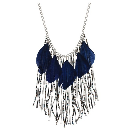Women's Necklace with Feathers and Round Beads and Chains-Blue, Blue