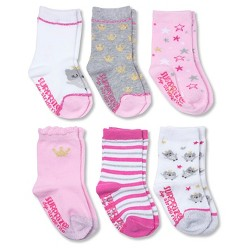 Baby Girls' Pink Princess Crew Gripper Socks - Surprize by Stride Rite™