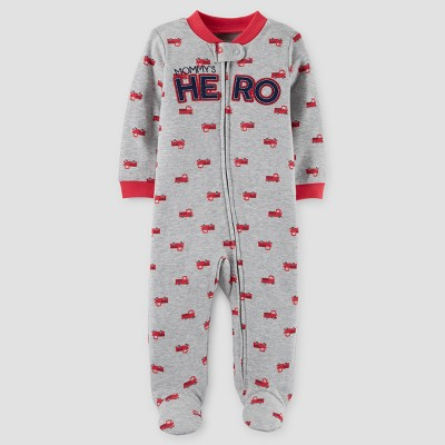Baby Boys' Firetruck Mommy's Hero Cotton Sleep N' Play - Just One You™ Made by Carter's® Red/Gray 6M