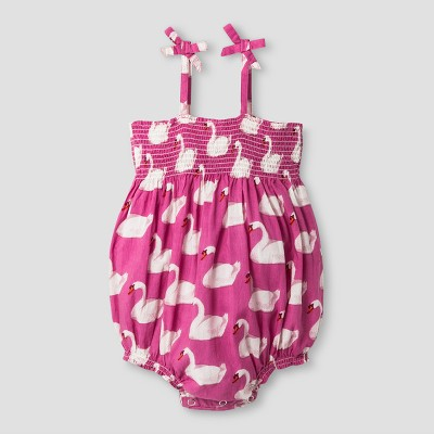 Girls' Happy by True Pink Chicken Swan Bubble Romper - True Pink 3-6M