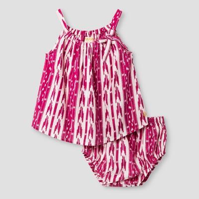 Girls' Happy by True Pink Chicken Ikat Dress Set - True Pink 6-12M