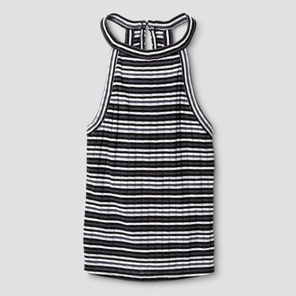Girls' Rib Knit Tank Top - Art Class Black/White XL, Size: XL(14-16)