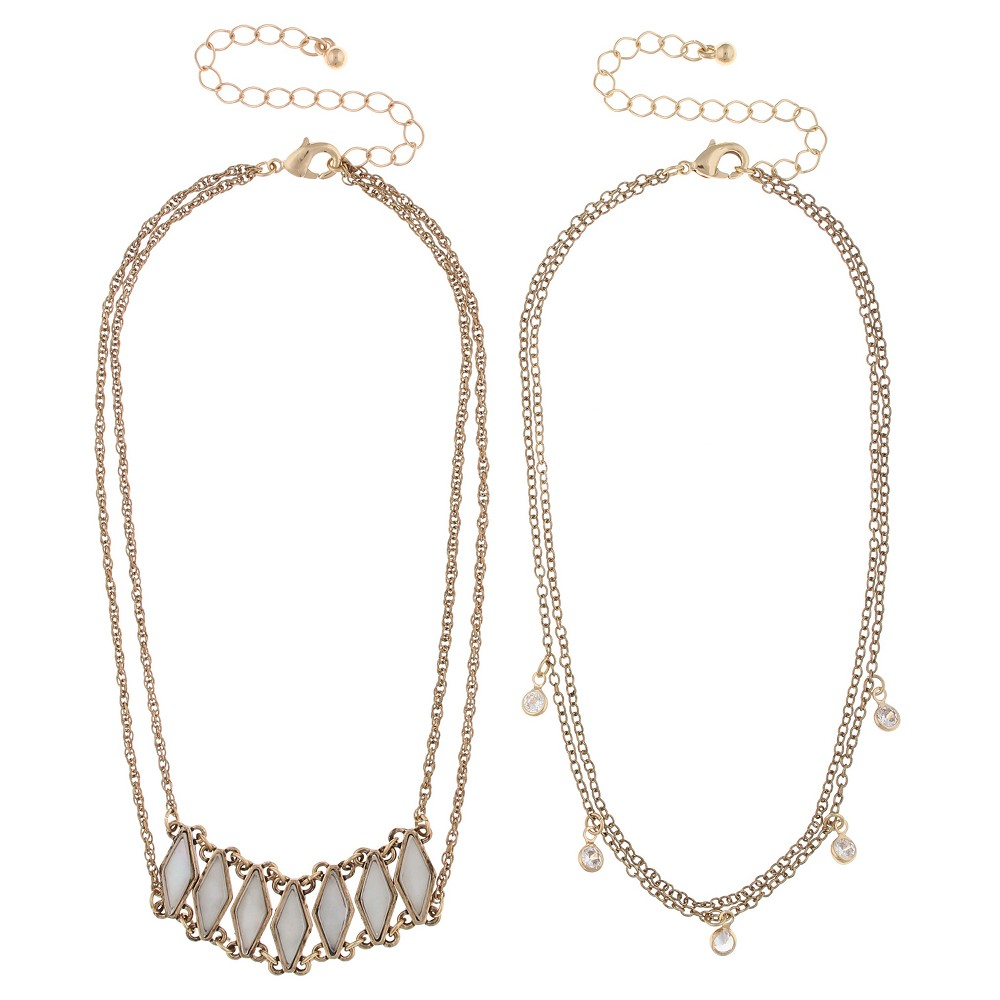 Necklace Duo Choker with Diamond Shaped Stones and Crystals - 12 - Gold, Womens