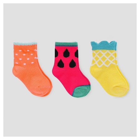Baby Girls' 3pk Fruit Print Socks - Cat & Jack
