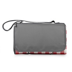 Picnic Time Blanket Tote - Red Check with Gray