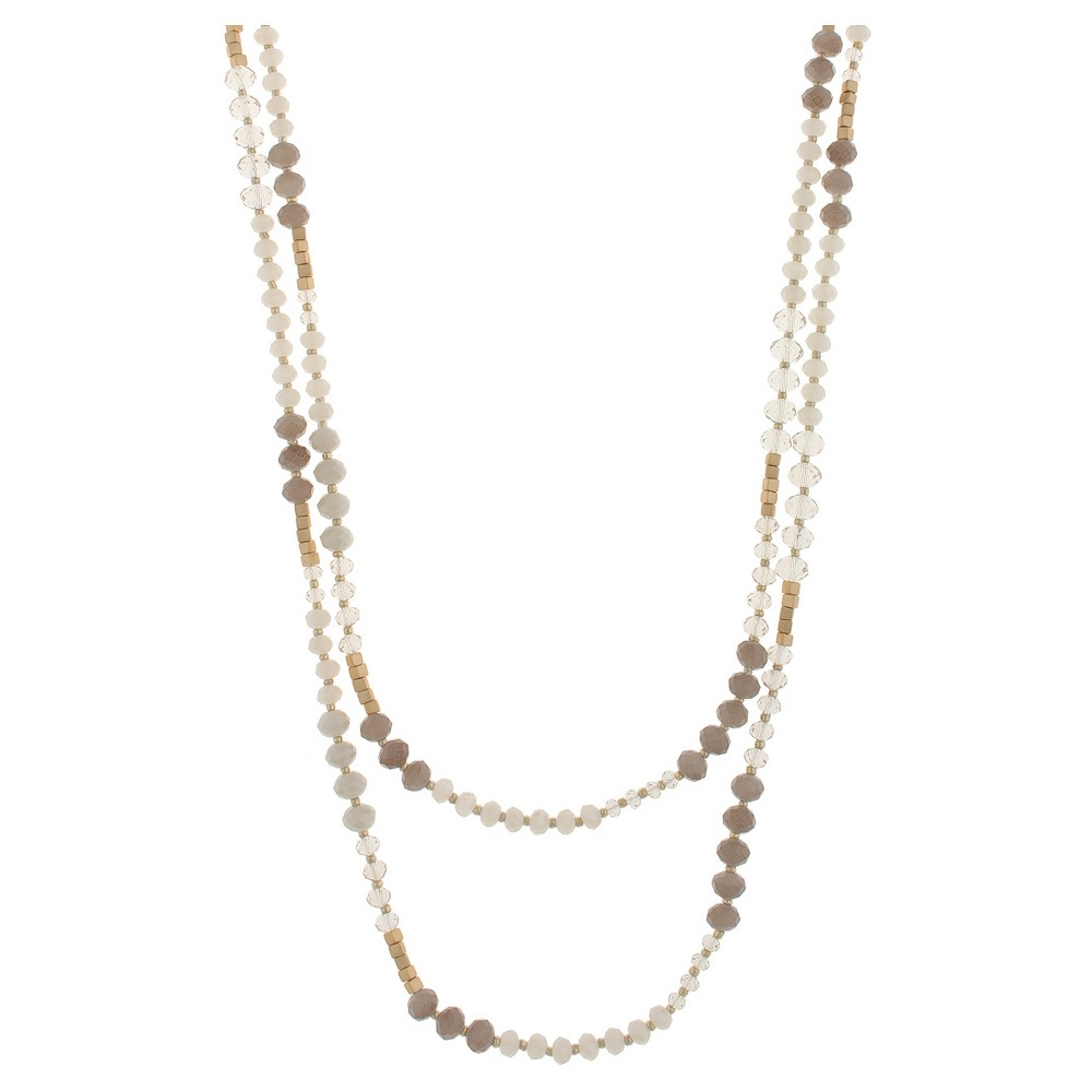 Necklace Two Layers with Mixed Faceted and Cube Beads - 18 - Gray, Womens