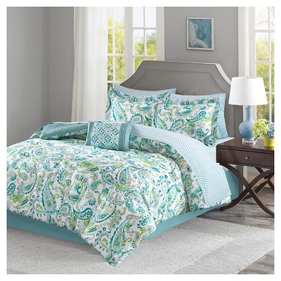 Aqua Ruby 100% Polyester Microfiber Printed Complete Bed Set (Queen)9pcs