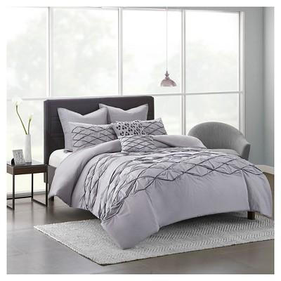Gray Carlisle 100% Cotton Solid Pieced Comforter Set (King/ CA King)7pcs