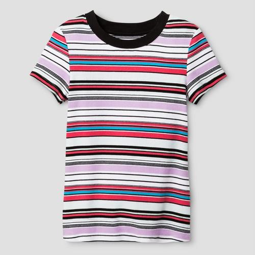 Girls' Rib Knit T-Shirt Art Class - Multi Stripe L, Girl's, Black