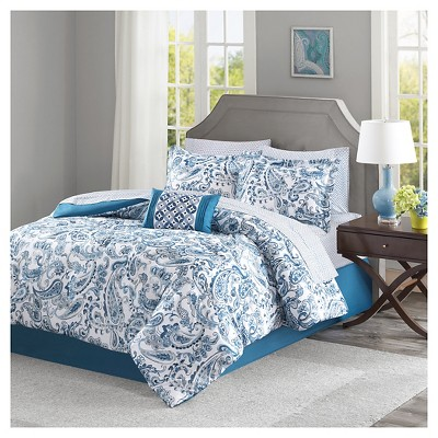 Indigo Ruby 100% Polyester Microfiber Printed Complete Bed Set (Queen)9pcs