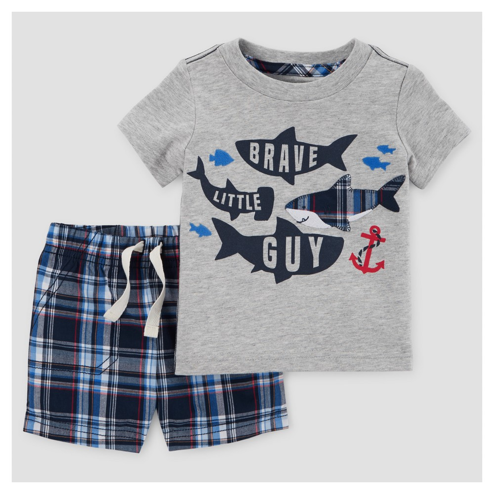 Baby Boys 2pc Sharks/Plaid T-Shirt Set - Just One You Made by Carters Gray 3M, Size: 3 M