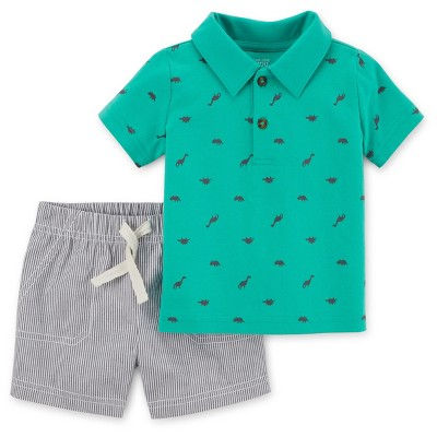 Baby Boys' 2pc Dino/Stripes Polo Set - Just One You™ Made by Carter's® Teal NB