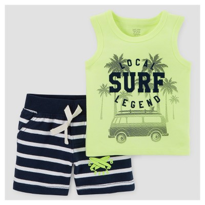 Baby Boys' 2pc Surf/Stripe Tank Top Set - Just One You™ Made by Carter's® Lime 12M