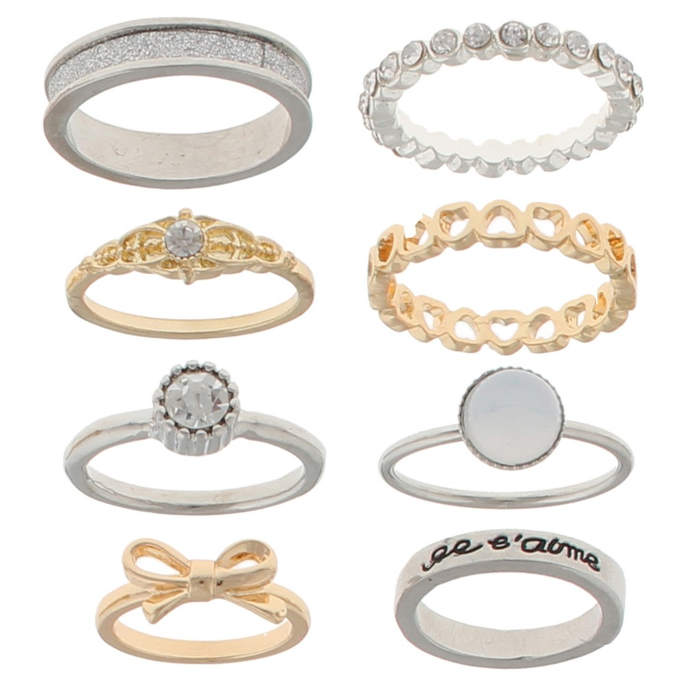Womens Stackable Ring Set with Eiffel Tower, Bow, Heart Ring, Glitter Paper, and Pave Ring Crystal, Silver