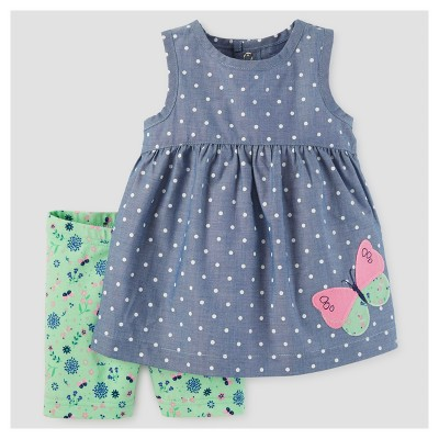 Baby Girls' 2pc Dot Butterfly Tunic Set - Just One You™ Made by Carter's® Chambray 12M