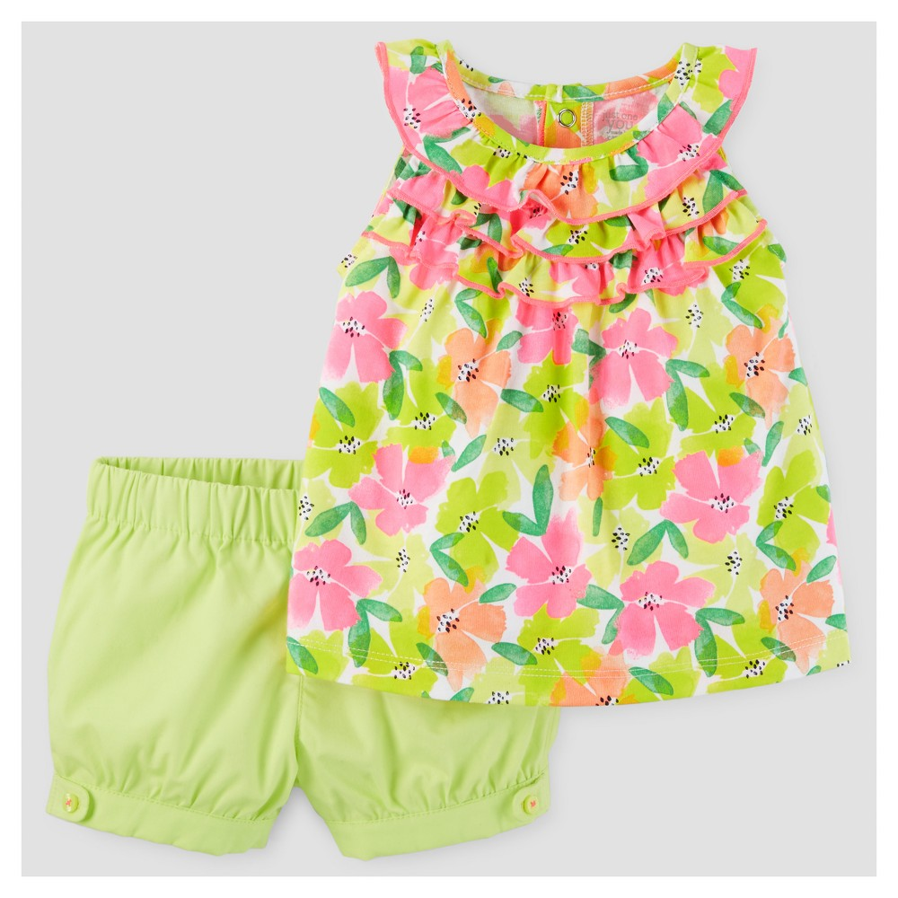 Baby Girls 2pc Ruffle Floral Tunic Set - Just One You Made by Carters Pink/Yellow 24M, Size: 24 M, Green