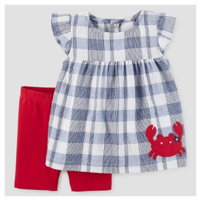 Baby Girls' 2pc Crab Tunic Set - Just One You™ Made by Carter's® Blue Plaid 3M