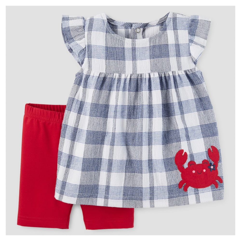 Baby Girls' 2pc Crab Tunic Set - Just One You Made by Carter's Blue Plaid 3M, Size: 3 M